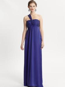 Banana Republic Monogram Blau Silk One-Shoulder Dress,Royal lila Größe 10