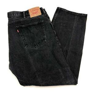Levi-039-s-505-Denim-Jeans-Mens-42X32-Black-Regular-Fit-Straight-Leg-Dark-Washed