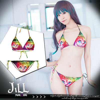 american cartoon street punk Alice cheshire cat gradient bikini swimwear J1M0164