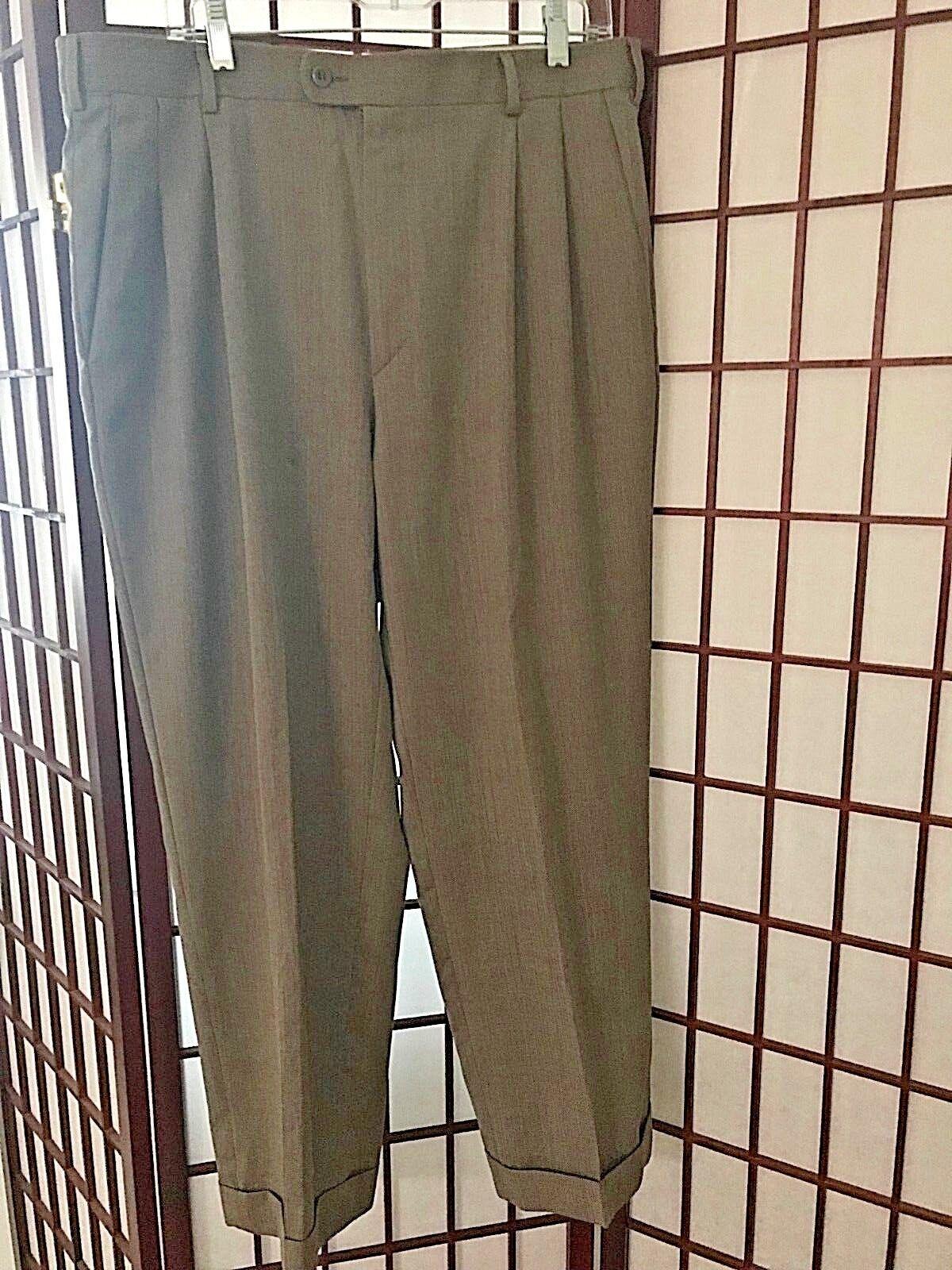 Zanella BENNETT Wool Dress Pant 36 x 32  BROWN