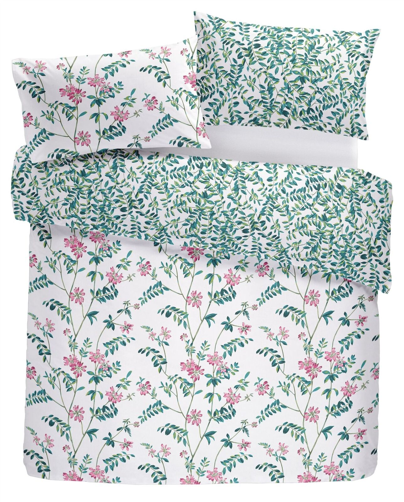 HAND-DRAWN STYLE FLORAL FLOWERS LEAVES TEAL SUPER KING 4 PIECE BEDDING SET