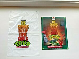 TMNT 1991 Coming Out Of Their Shells Bag w/Tour Guide Book Poster Pizza Hut!
