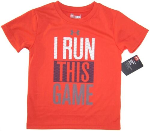 UNDER ARMOUR Boys Heatgear Short Sleeve Shirt NWT SIze 4 Gray  Orange
