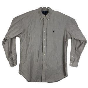 Mens-L-Polo-Ralph-Lauren-Blake-Long-Sleeve-Button-Down-Shirt-Plaid-Yellow-Cotton