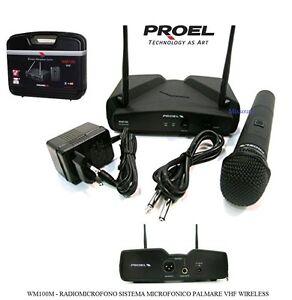 RADIOMICROFONO-WIRELESS-PROEL-WM100M-PALMARE-WM-100-GELATO-doppia-antenna