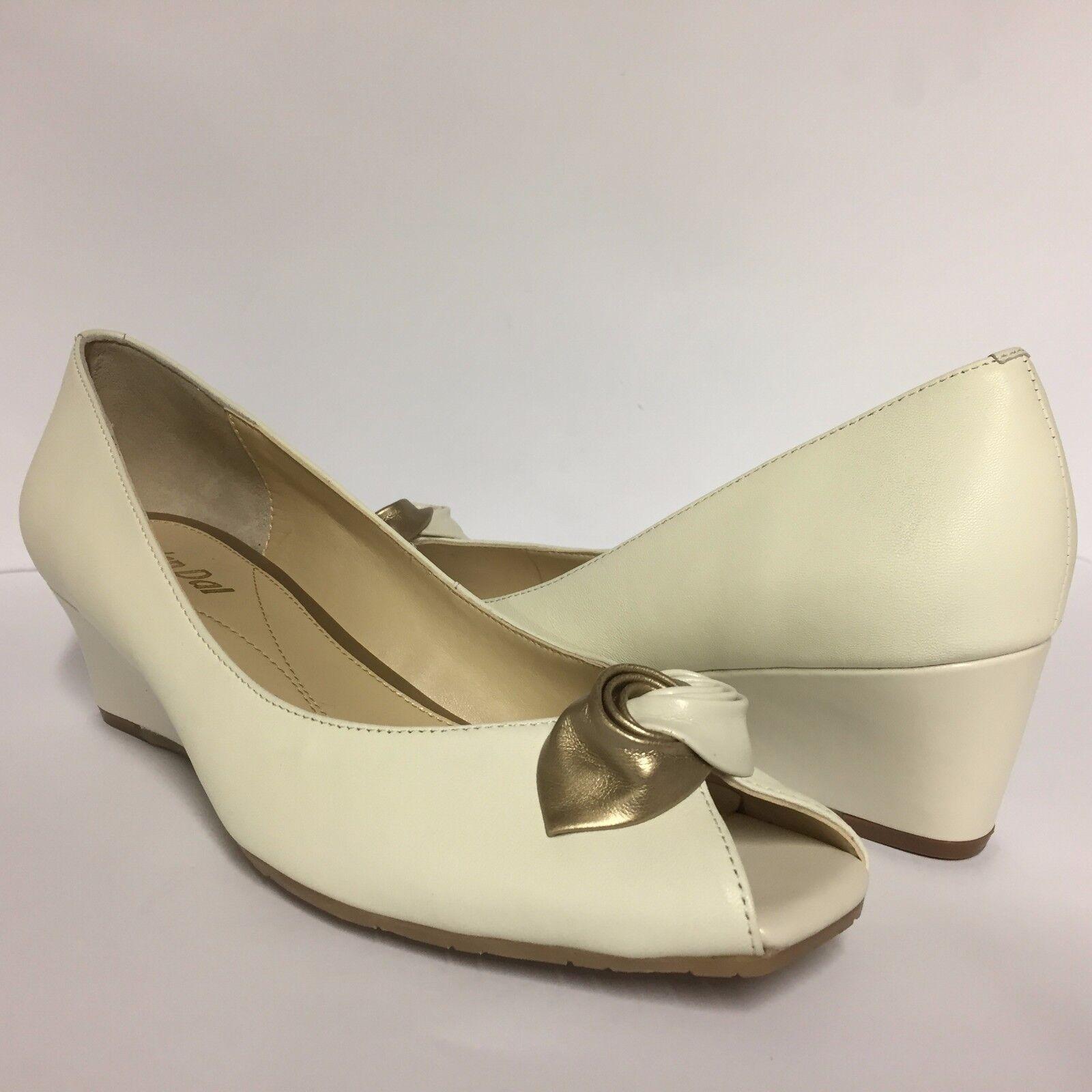 Van Dal Manila Off White white gold  Peep Toe Court shoes Wedge Heel