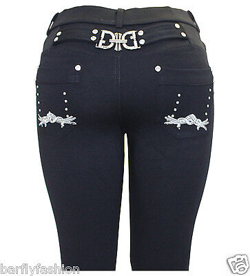 1e17a840e0c Plus Size New Ladies Black Crown Embroidery Buckle Jeggings Jeans leggings  8-26