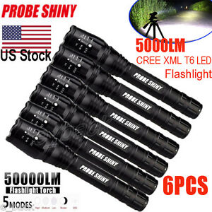 6x-Zoomable-5000LM-5-Modes-XML-T6-LED-Flashlight-Torch-Lamp-18650-Light-lot