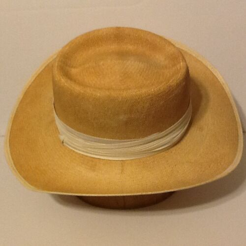 VINTAGE DOBBS HAT Dobbs Shantung Panama Straw Fedora Hat Sz 6-7 8 ... 36c26cce0f90