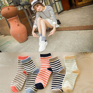 NEW-5-Pairs-Lot-Girls-Womens-FASHION-Crew-Socks-Cotton-Stripe-Casual-Dress-Socks