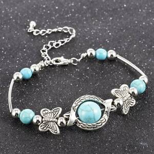 New-Tibetan-Silver-Turquoise-Butterfly-Blue-Charm-Bracelet-Bangle-Jewellery-Gift