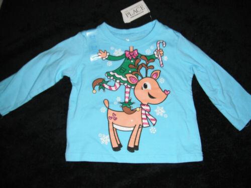 NEW baby girls THE CHILDREN/'S PLACE SHIRT elf REINDEER blue CHRISTMAS 6 9 months
