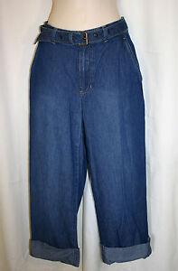 2a3f6c98fe6 LIZ CLAIBORNE Sz 4 Blue Denim Cuffed Belted Tabitha Capri Jeans