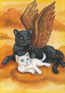 ACEO PRINT OF PAINTING TUXEDO CAT RYTA KITTEN RAINBOW BRIDGE WHIMSICAL ANGEL ART