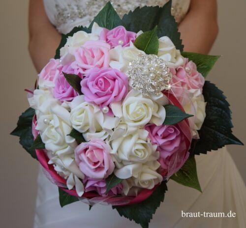 Hochzeit Braut Standesamt Brautstrauss aus Rosen mit Strass Neu