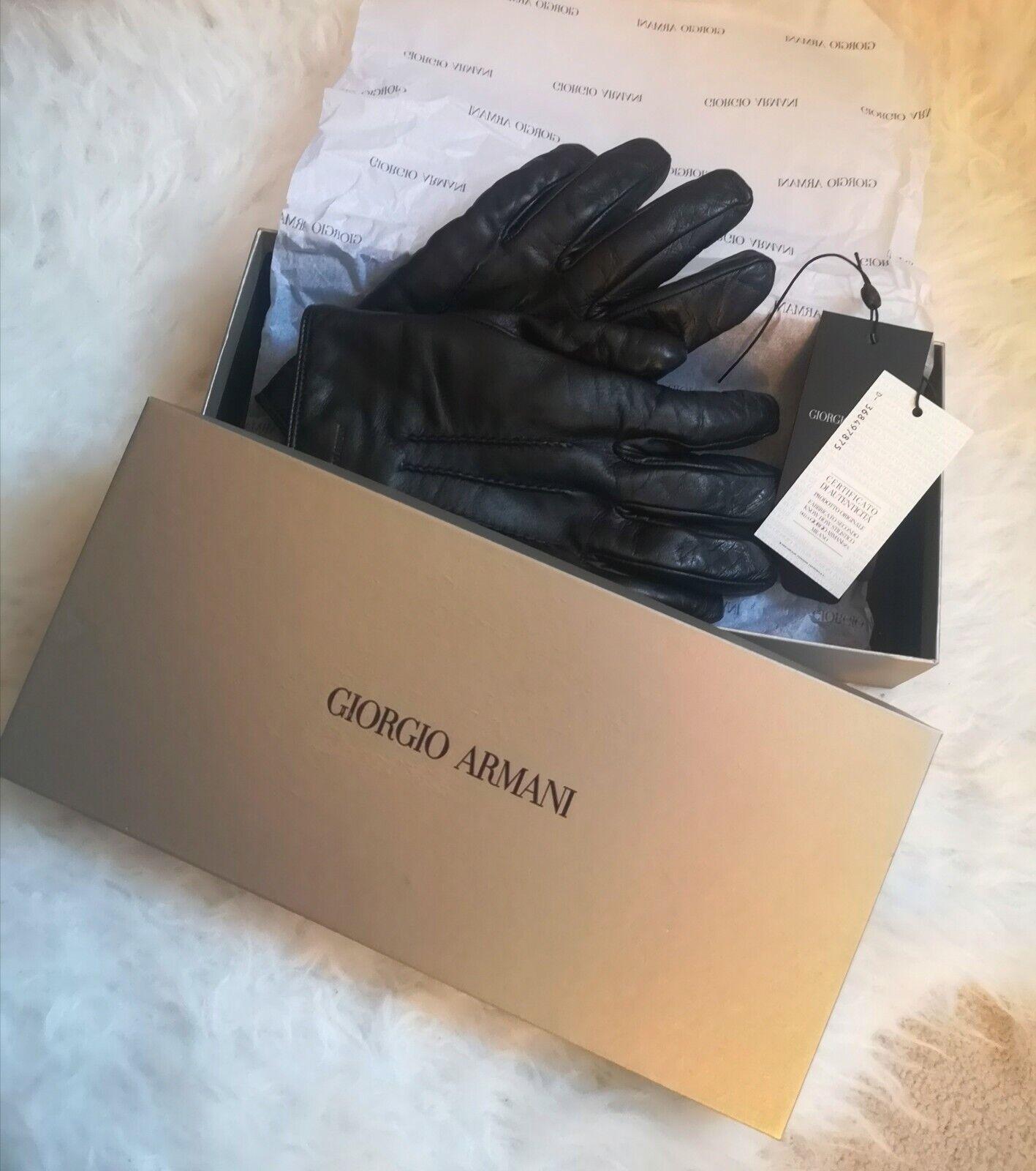 Giorgio Armani Nappa Leather Cashmere Lining Men's Gloves Size M