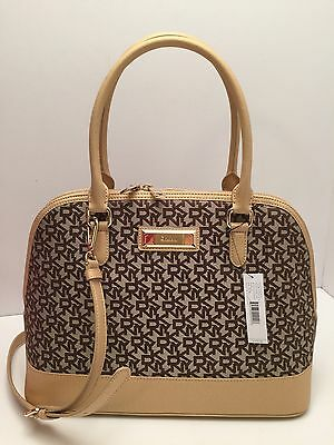 DKNY Handbag *Heritage w/ Saffiano Gold Brown Shoulder Bag Tote Satchel $278