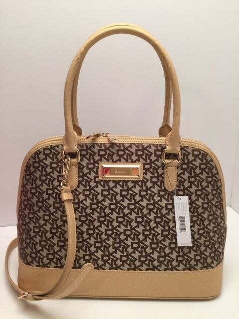 Dkny Handbag Heritage W Saffiano Gold Brown Shoulder Bag Tote Satchel 278
