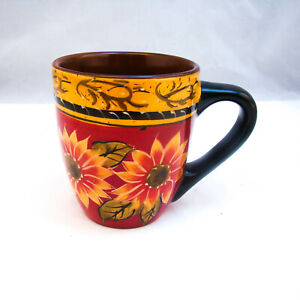 Pier-1-Imports-Hand-Painted-SUNFLOWER-Mug-s