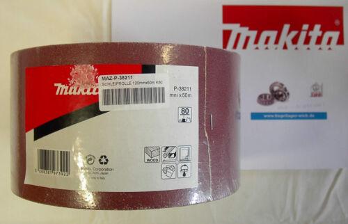 Makita Schleifrolle Rolle Schleifpapier 120mm x 50m K80 NEU /& UNBENUTZT P-38211