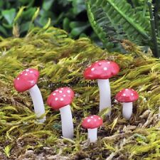 Miniature Mini Fly Agaric Mushroom Picks Set 5 GO 17436 Fairy Garden  Terrarium