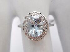 New 10k White Gold Oval Aquamarine & Diamond Accent Halo 1.15 TCW Ring ~ #2486
