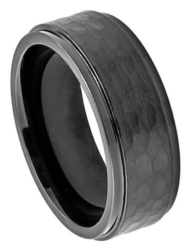 Cobalt Ring Men Women Wedding Band Black Enamel Stepped Edge Hammered Center 8mm