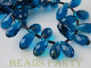 New-10pcs-16x8mm-Teardrop-Faceted-Glass-Pendant-Loose-Spacer-Beads-Peacock-Blue