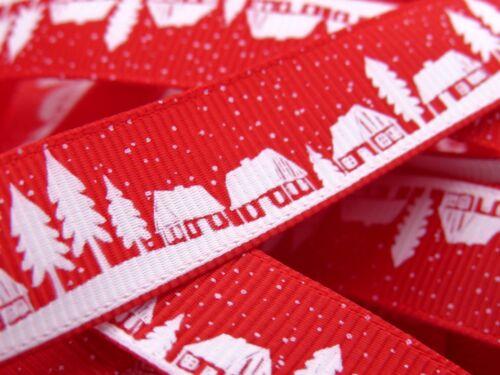 Multi Save 2 Colours Bertie/'s Bows Christmas Snowy Village Scene Ribbon