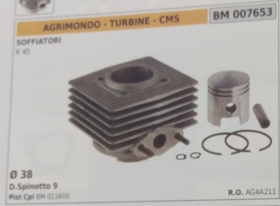 Zylinder und Kolben Komplett Gebläse Agrimondo Turbine CMS K45 Ø 38 MM