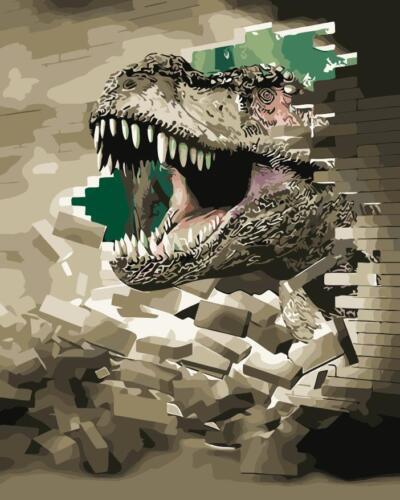 Paint By Numbers 3D Dinosaur Painting Lifelike Window Paint Digital Picture