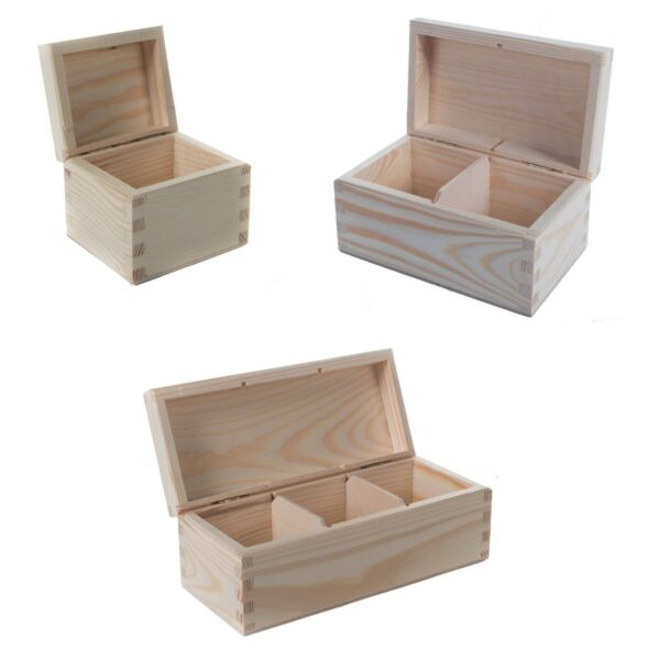 1/2/3 Compartments Plain Wooden Tea Box / Jewellery Decoupage Storage Boxes