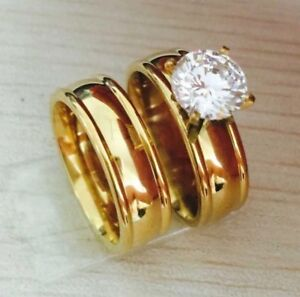 Eheringe-Verlobungsringe-Ring-Gold-Edelstahl-Gr-53-54-56-58-60-Partnerringe