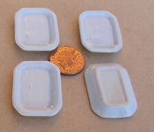 1:12 Maßstab 4 Weiß Keramik Servierteller 3.5cm x 2.5cm Tumdee Puppenhaus W62