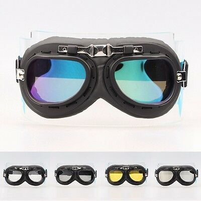 Retro Vintage Aviator Pilot Bike Motorcycle Cycling Goggles Eyewear Black Frame