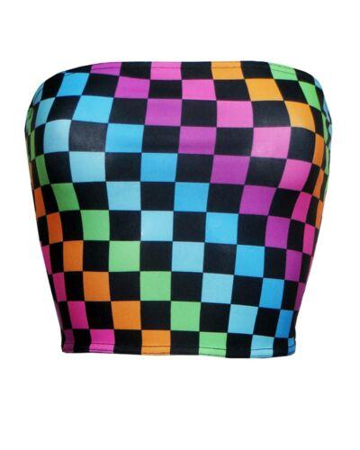 Rainbow multi carreaux carrés Crop Haut Bandeau Jambières Co-Ord Ensemble 2 Pièces Coord
