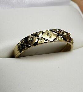 Details about 10k Yellow Gold Diamond Designer Wedding Band Ring, Size  8/Anillo de Oro
