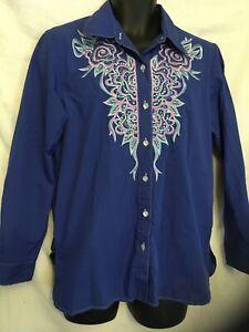 Bob-Mackie-Wearable-Art-Womens-Long-Sleeve-Button-Down-Shirt-Blue-Medium-Western