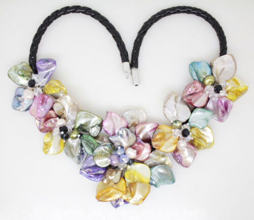 """Nouveau Mother of Pearl Shell Handmade Pearl Crystal 5 Fleur Collier Pendentif 18/""""AAA"""