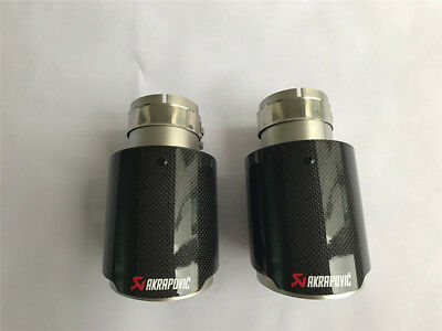 "4.5/"" 114MM Akrapovic Glossy Carbon Fiber pipe Exhaust Tip 2 X IN 3/"" 76MM OUT"