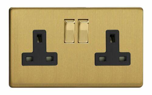 Varilight XDB5BS Screwless brossé Laiton 2 Gang Double 13 A Switched Plug Socket