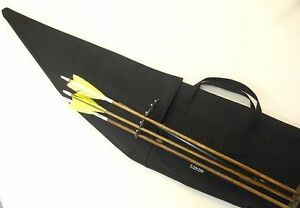 """Traditional Archery CASE for STRUNG RECURVE BOW w/ bolt on Quiver Black   66"""""""
