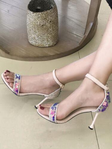 sandali eleganti 8 cm beige strass stiletto trasparente pelle sintetica CW001