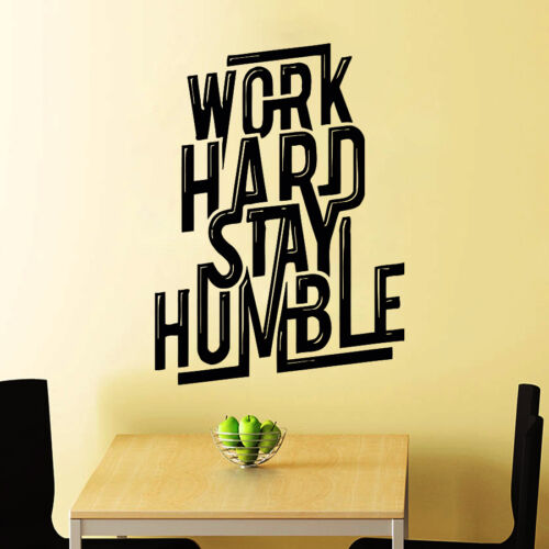 Work Hard Wall Decal Quote Decals Stay Humble Vinyl Sticker Bedroom Decor Chu880