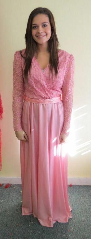 Vtg 70'S DEEP V EVENING LACE FORMAL DRESS SZ S-M or Halloween Costume Pink Mauve
