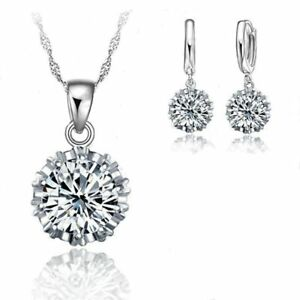 Modeschmuck-Set-925-Sterling-Silber-Damen-Halskette-Anhaenger-Ohrringe-Zirkonia