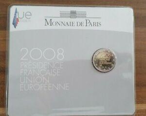 Coincard-mit-2-Euro-Gedenkmuenze-Frankreich-2008-BU-EU-Ratspraesidentschaft