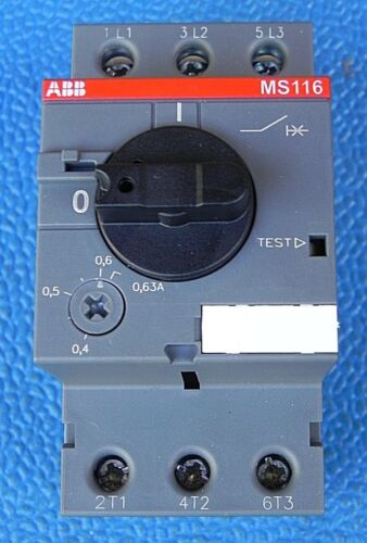 ABB MANUAL MOTOR STARTER MS116-0.63 0.4-0.63AMP 3 POLE 1SAM250000R1004