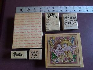 """Assorted Holiday Season """"Stampin Up"""" Rubber Greeting Stamps (6)"""
