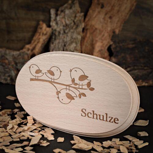 Türschild inkl Gravur Motiv Vogelfamilie Holzschild